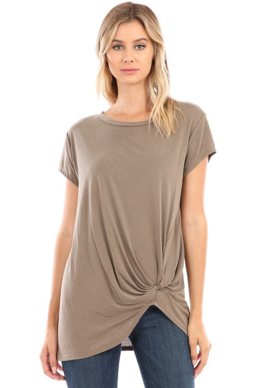 Short Sleeve Cupro Knot Top 2 - The Loft on Main - Oakes ND