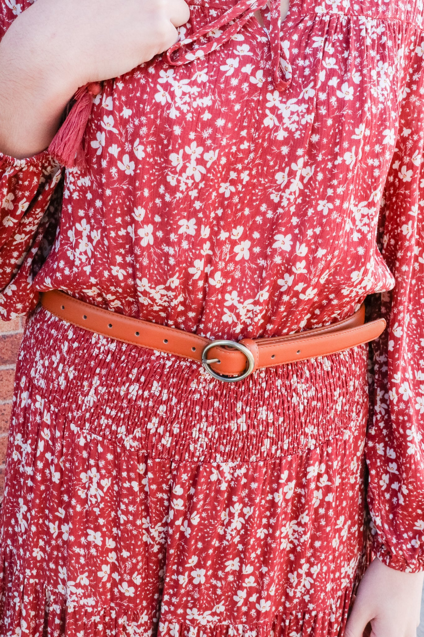 Skinny Ring Buckle Belt (Camel) 1 - JQ Clothing Co. - Oakes, ND
