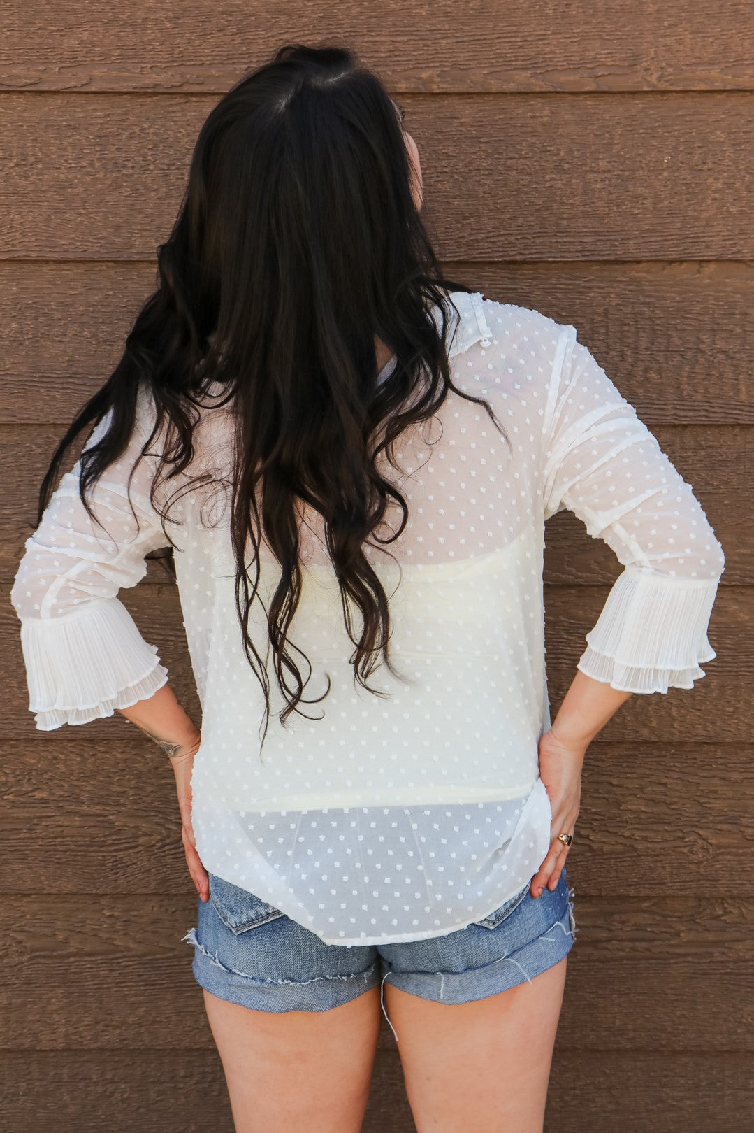 On the Dot Ruffle Blouse 3 - JQ Clothing Co. - Oakes ND