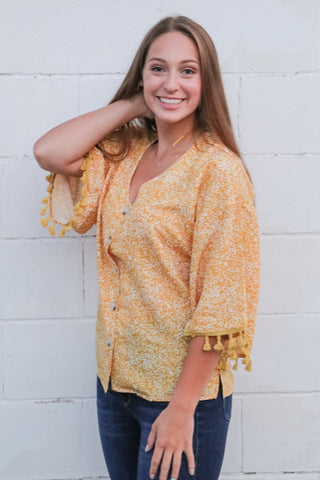 Tassel Trim Floral Top 1 - JQ Clothing Co. - Oakes ND