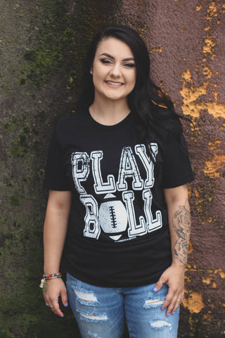 Play Ball Graphic Football Tee 1 - The Loft on Main - Oakes ND
