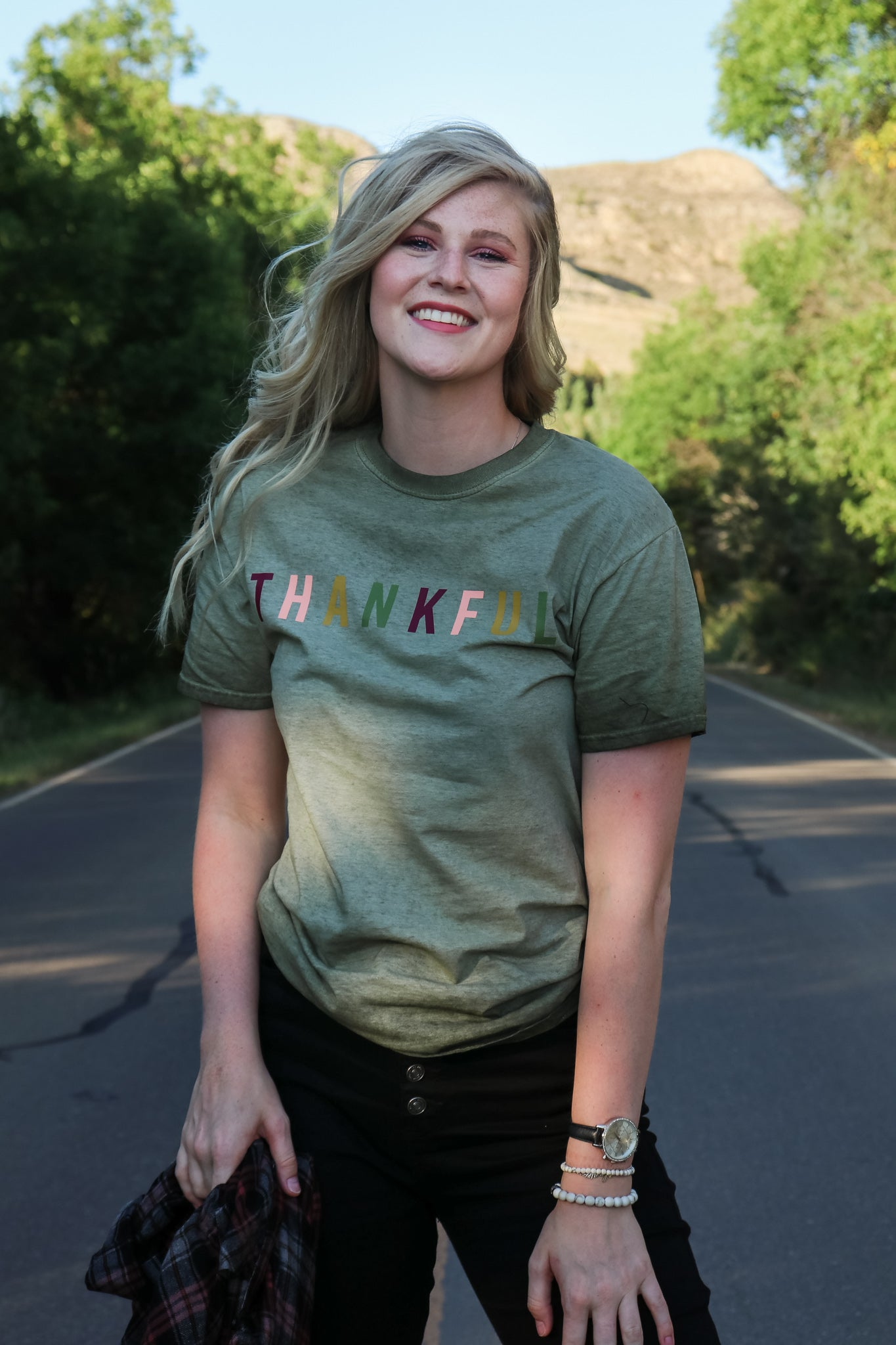 Thankful Tie Dye Oil Wash Tee - JQ Clothing Co. - Oakes ND