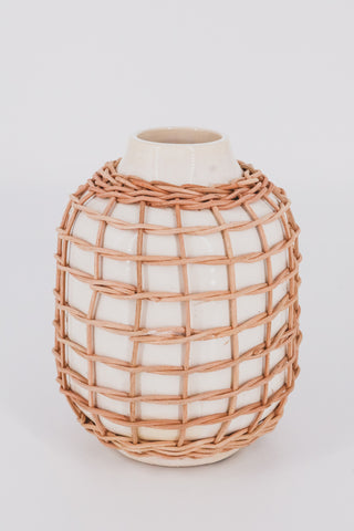 Rattan White Vase 1 - JQ Clothing Co. - Oakes, ND
