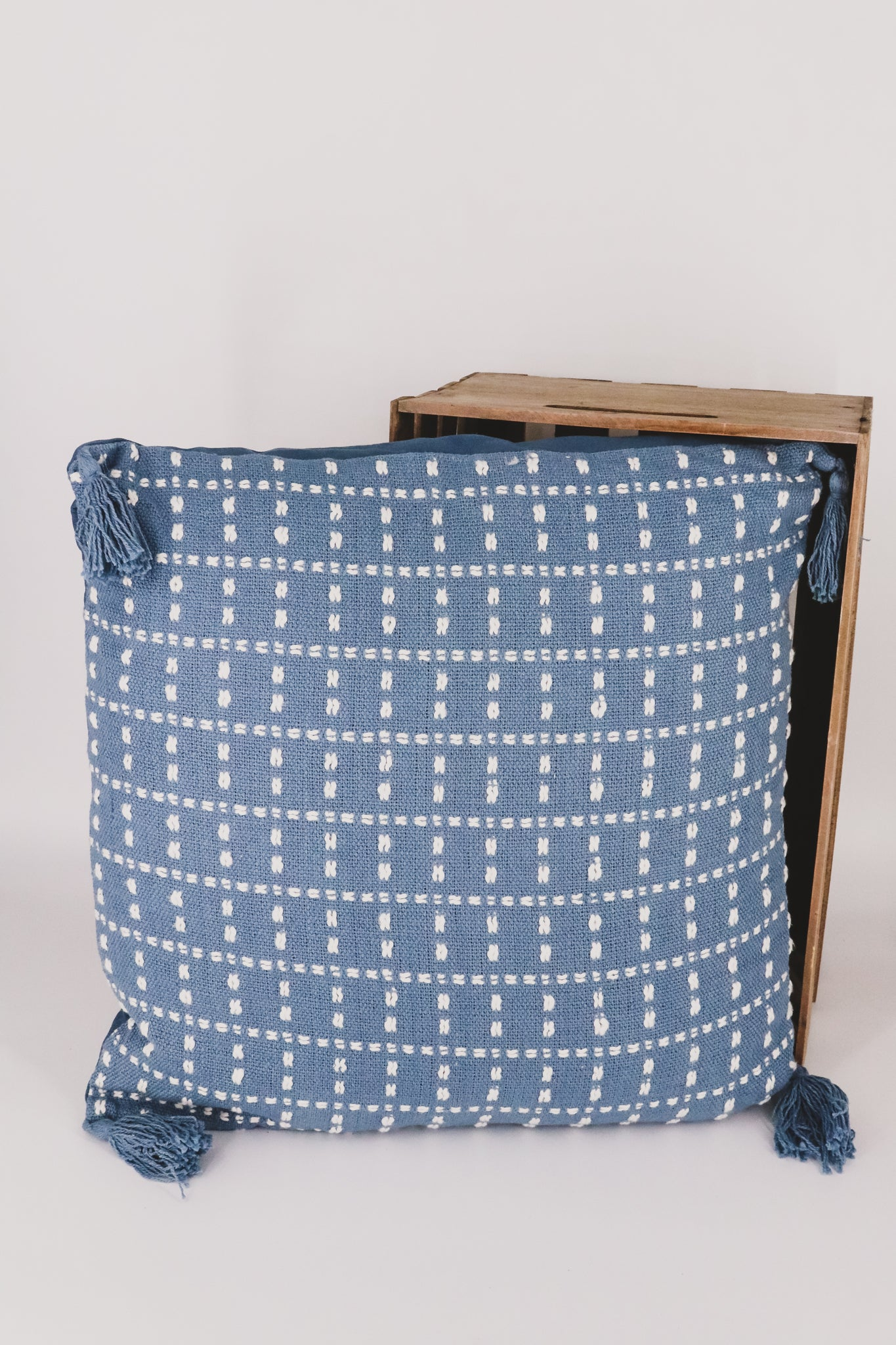Hand Woven Blue Polly Pillow 1 - JQ Clothing Co. - Oakes, ND