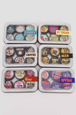 6 Pack of Bottle Top Magnets 1 - JQ Clothing Co. - Oakes, ND