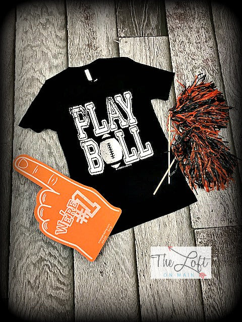 Play Ball Graphic Football Tee 2 - The Loft on Main - Oakes ND