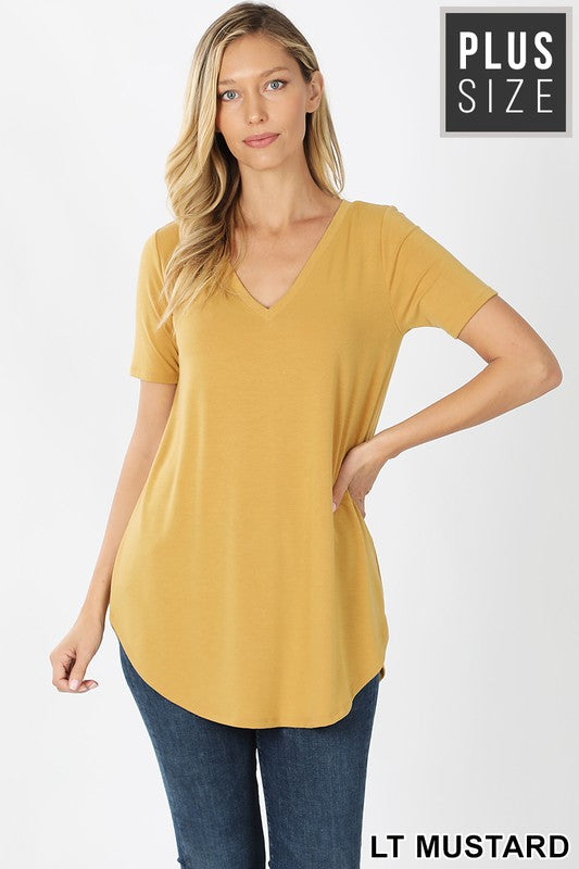 Curvy Basic V-Neck Tee 6 - JQ Clothing Co. - Oakes ND