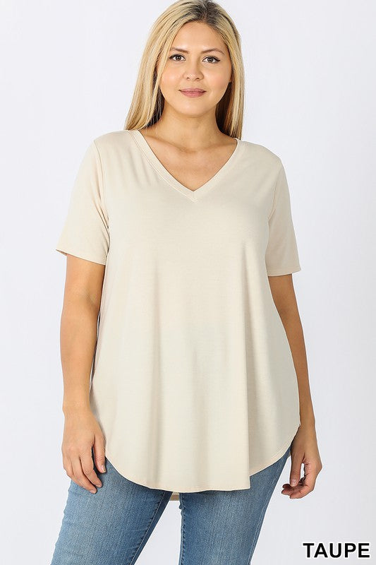 Curvy Basic V-Neck Tee 3 - JQ Clothing Co. - Oakes ND