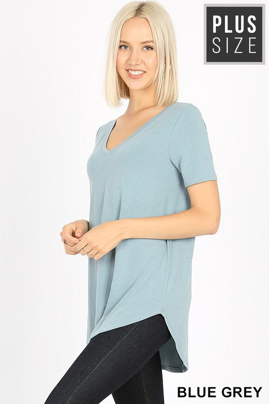 Curvy Basic V-Neck Tee 2 - JQ Clothing Co. - Oakes ND