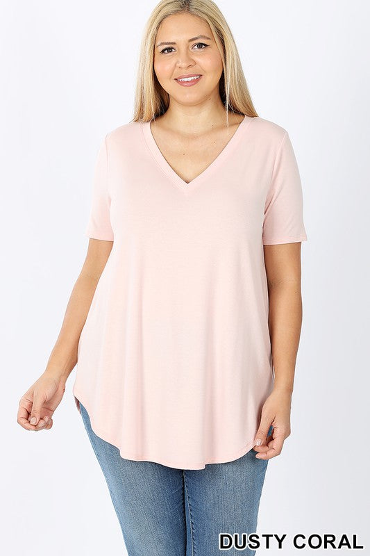 Curvy Basic V-Neck Tee 4 - JQ Clothing Co. - Oakes ND