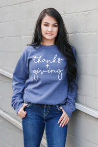 Thanks + Giving Graphic Crewneck (Navy) 1 - JQ Clothing Co. - Oakes, ND