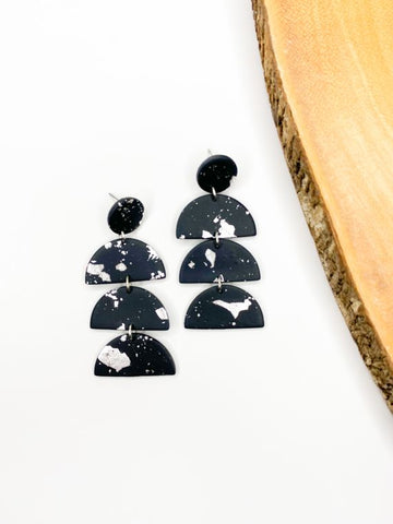 Black & Silver Clay Earring