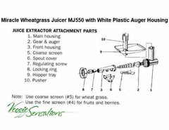 Miracle MJ550 Wheatgrass Juicer Parts - Regulating Screw