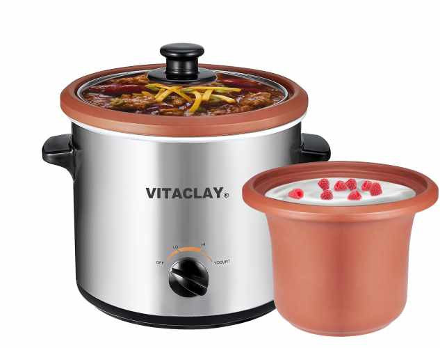 VitaClay 2-in-1 Personal Slow Cooker Yogurt Maker
