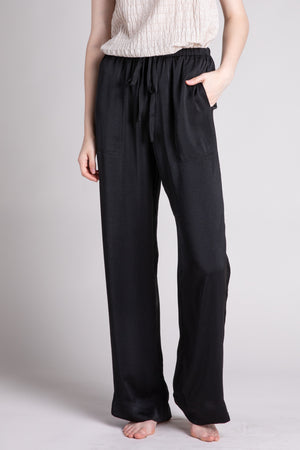 DRAWSTRING SATIN PANTS  100% POLYESTER IMPORTED