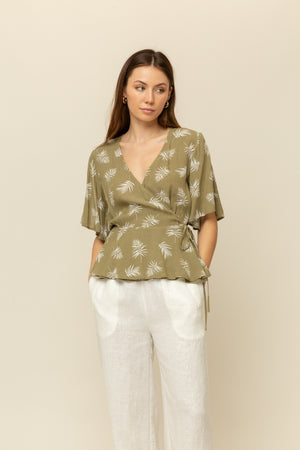 Flutter Sleeve Wrap Blouse