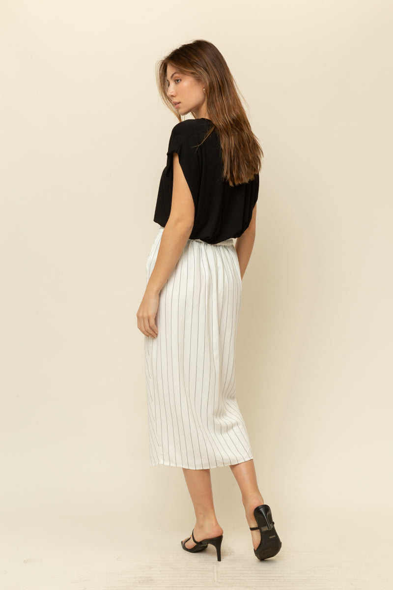 Lined Blend Stripe Wrap Skirt