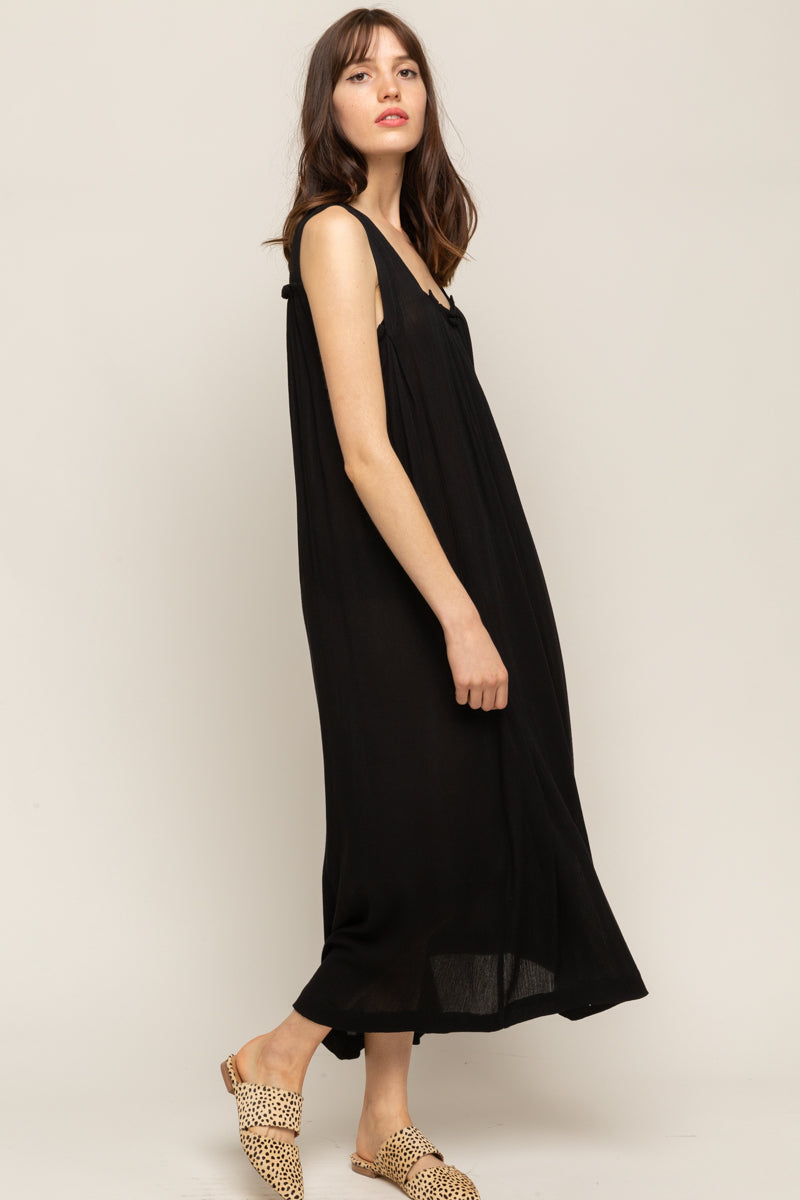 SQUARE NECK GAUZE MIDI DRESS
