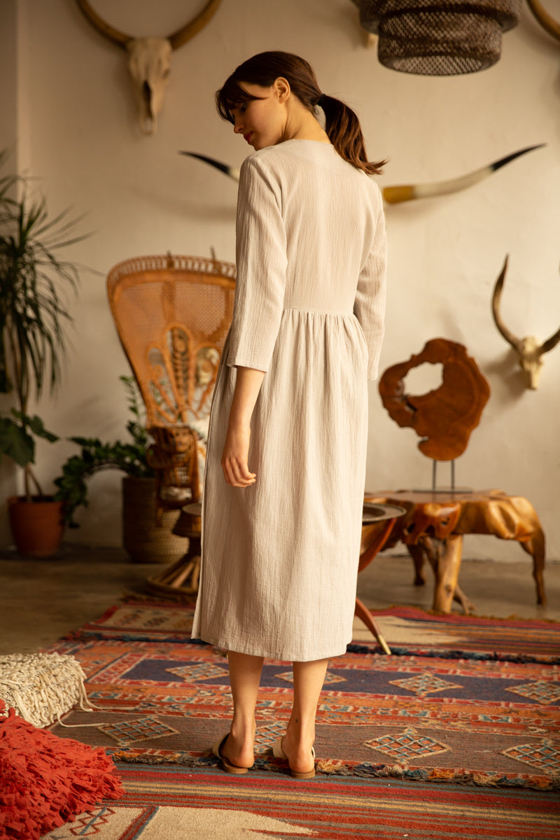 TEXTURED COTTON WRAP DRESS