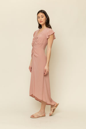 FRONT RUCHING MIDI DRESS