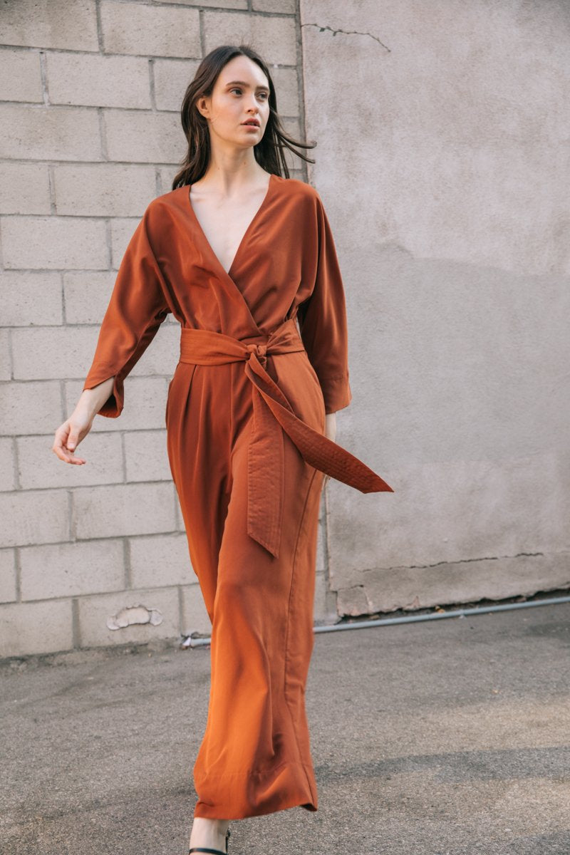 QUILTED BELT SATIN JUMPSUIT  100% POLYESTER IMPORTED