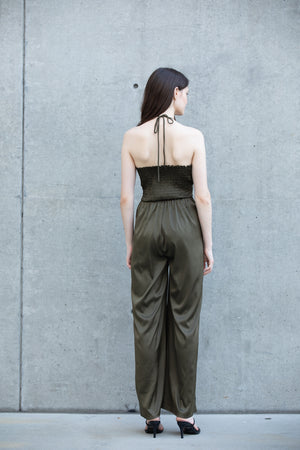 HALTER NECK LONG JUMPSUIT  95% POLYESTER 5% SPANDEX IMPORTED