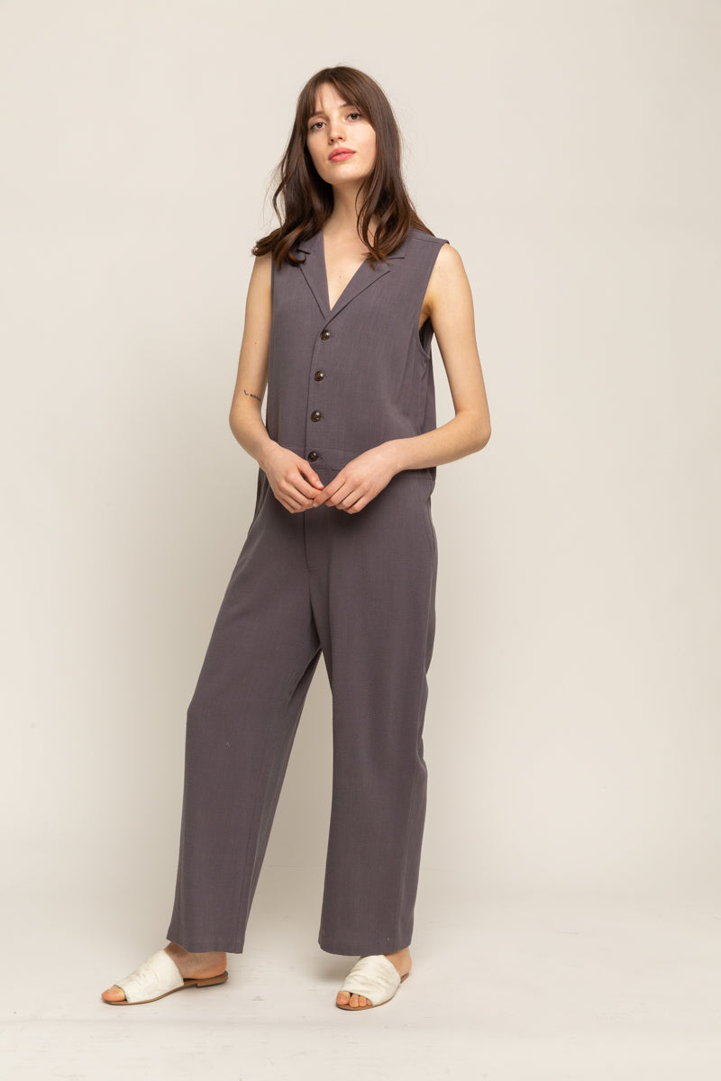 COLLARED BOXY JUMPSUIT