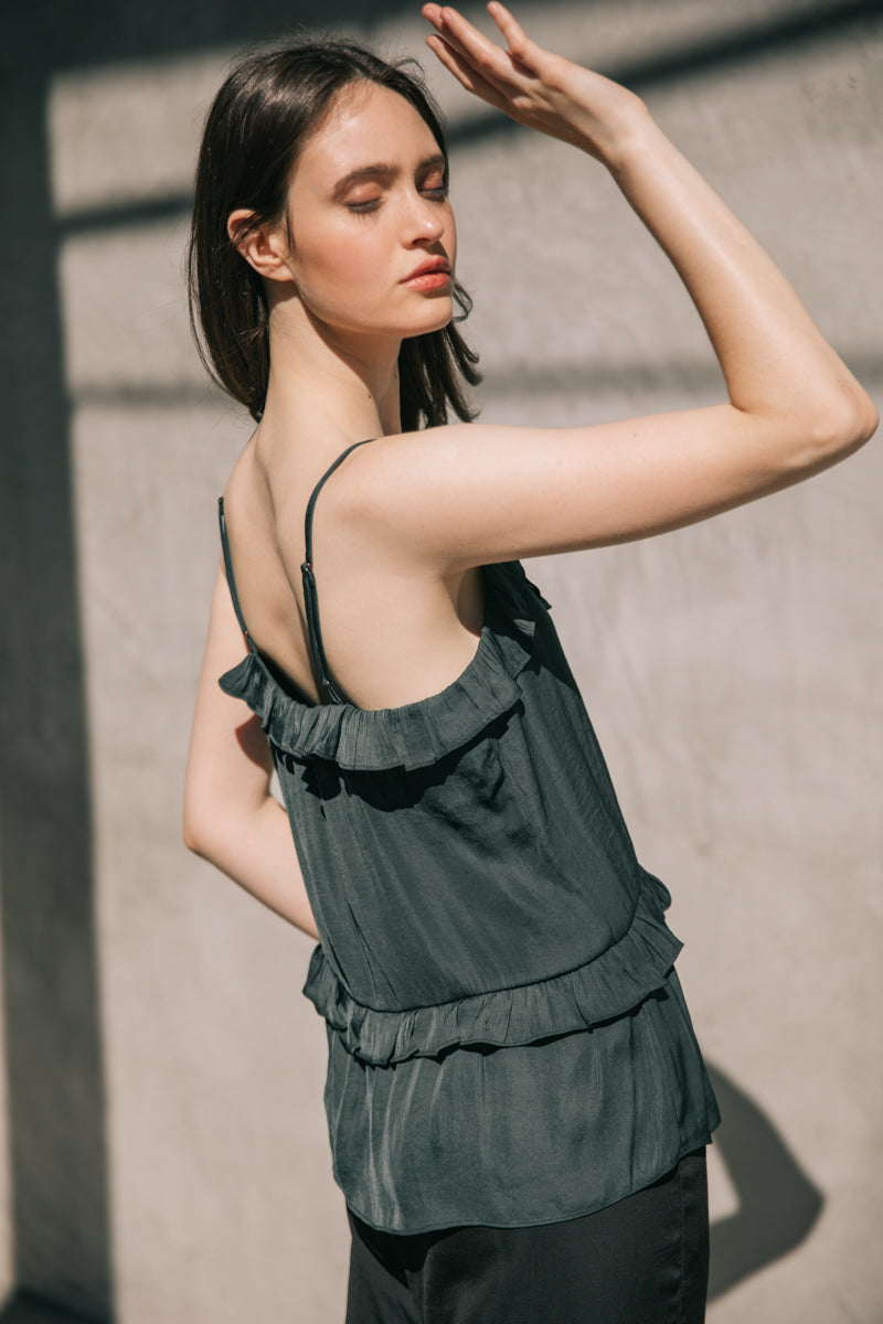 RUFFLED CAMI  100% POLYESTER IMPORTED