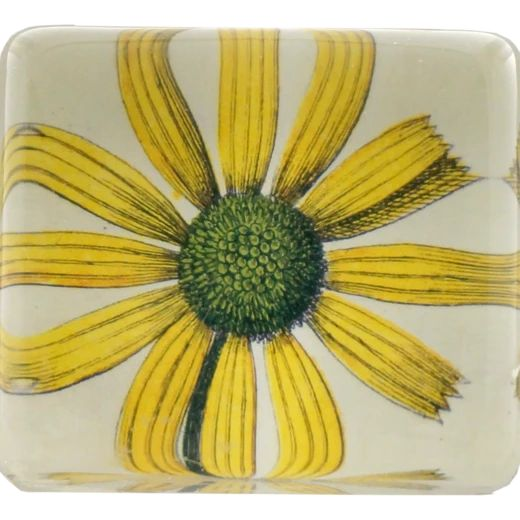 John Derian :: Rectangle Charm Paperweight, Yellow Flower