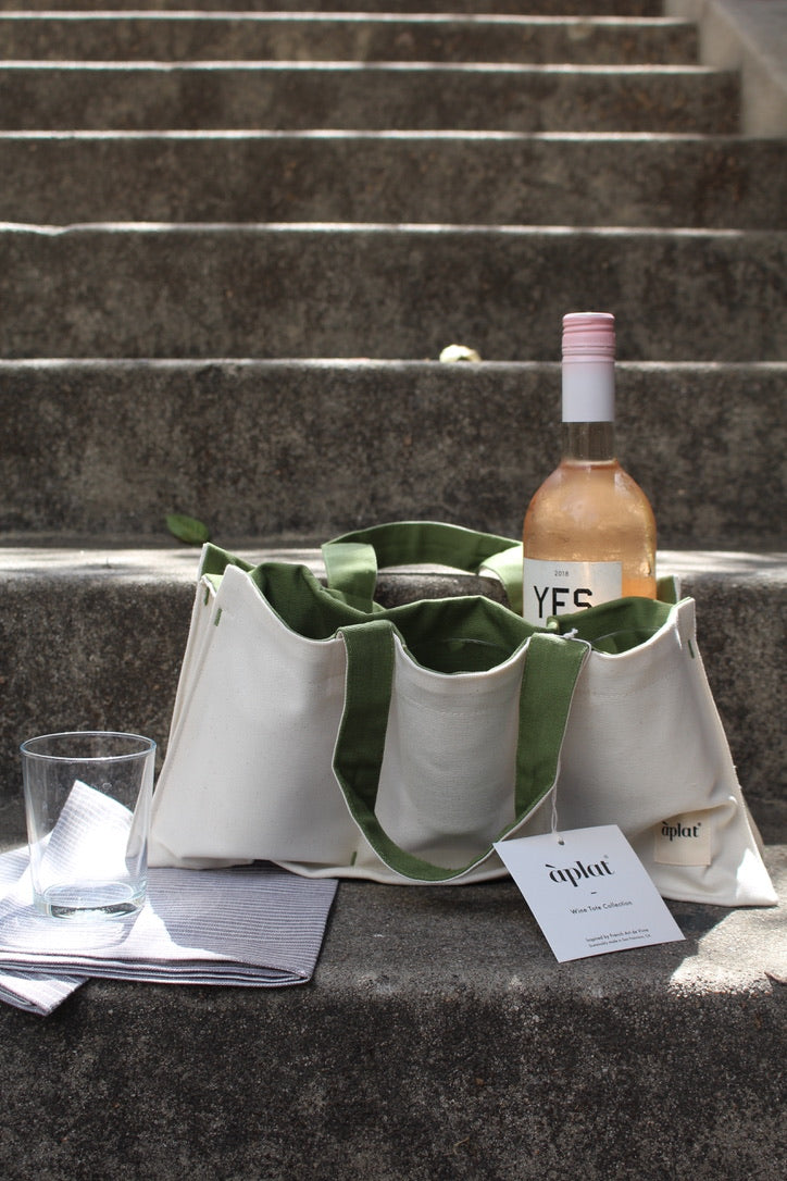 "Aplat :: One Bottle Wine Picnic Tote, Olive, 7.5"" x 15"""