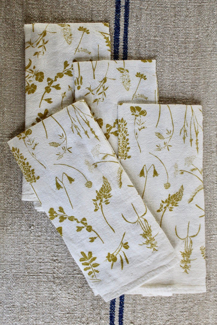 June & December :: Napkin Set 4, Yellow Wildflowers
