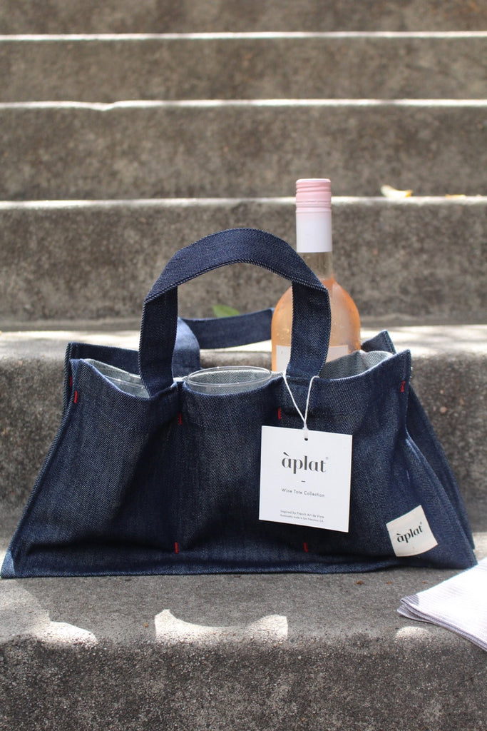 Aplat :: One Bottle Wine Picnic Tote, Denim, 7.5 x 15