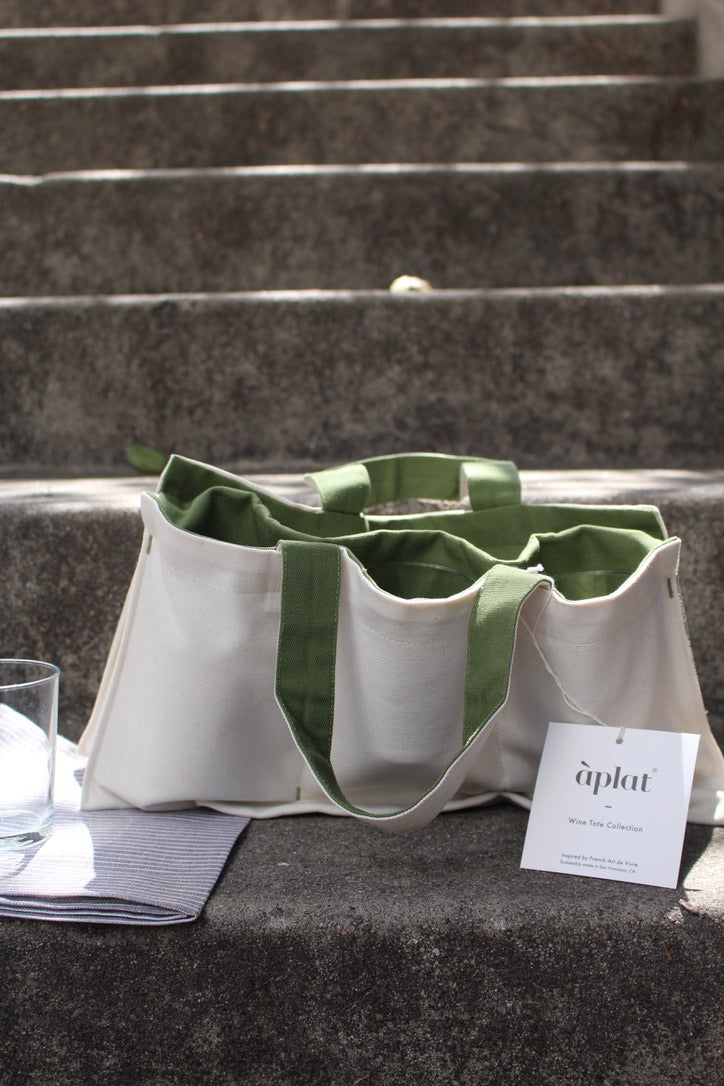 Aplat :: One Bottle Wine Picnic Tote, Olive, 7.5 x 15