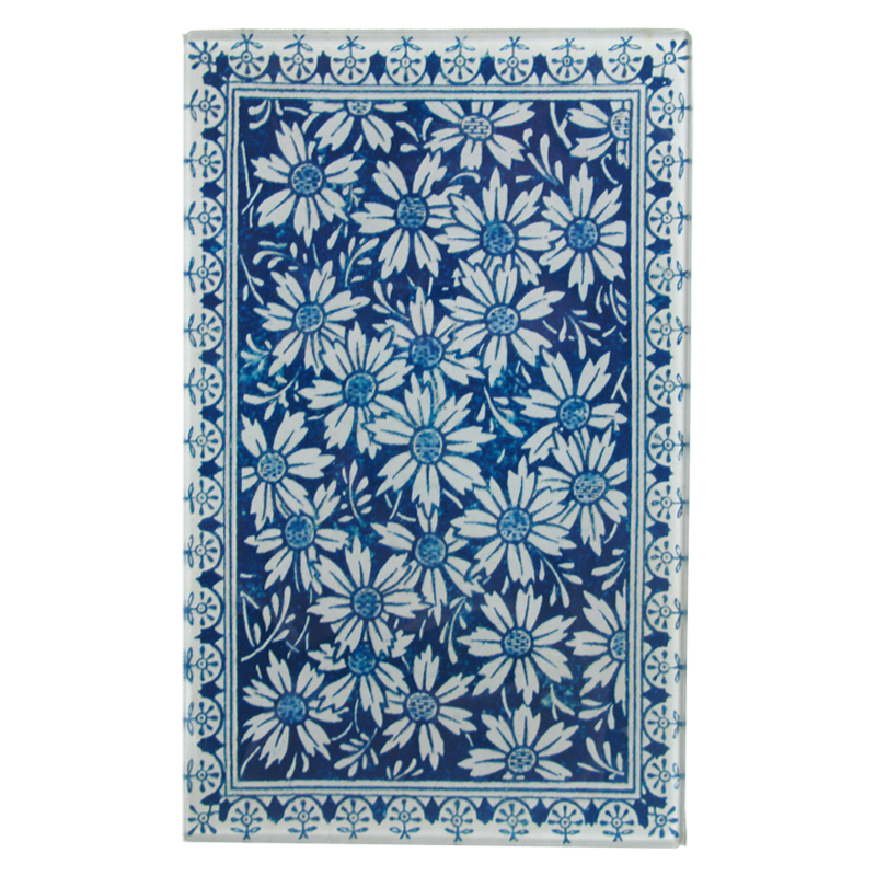 "John Derian :: 5 x 8"" Rectangle Tray, Blue Daisy Card Back"