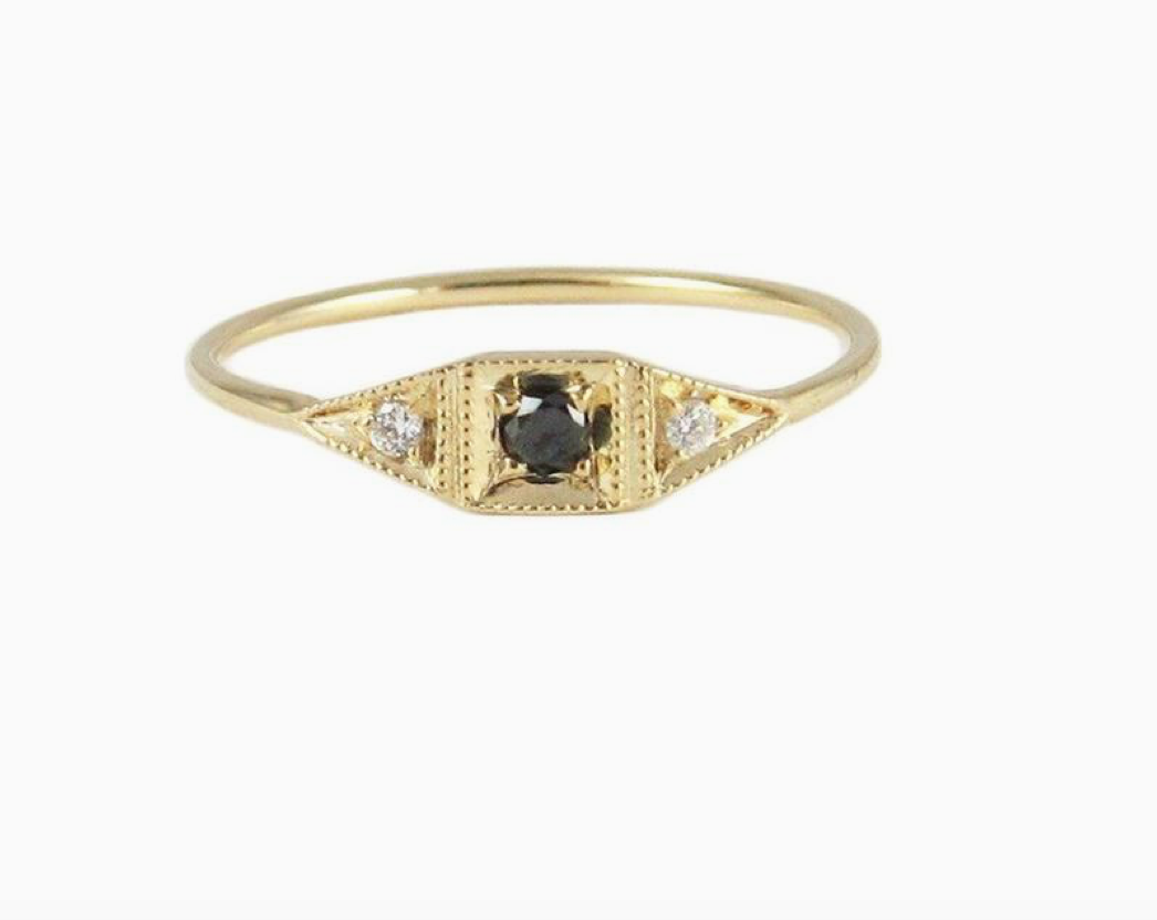 Jennie Kwon Designs :: Mini Deco Point Ring, Black Diamond size 6