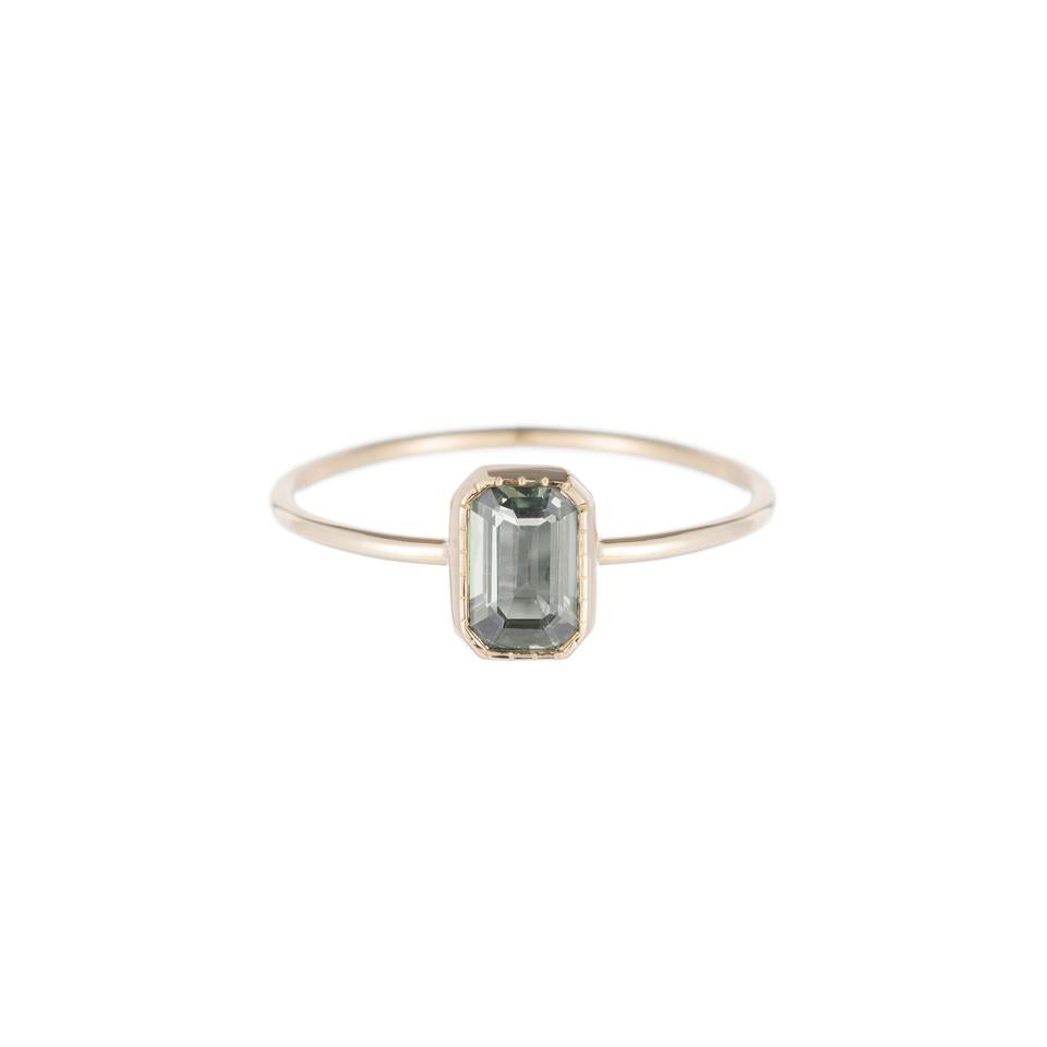 Jennie Kwon Designs :: Green Sapphire Wisp Ring, Emerald Cut, size 7