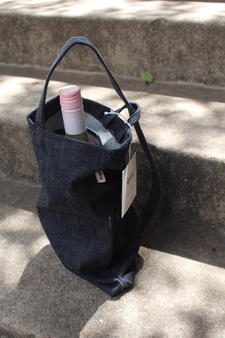 "Aplat :: Two Bottle Wine Tote, Denim, 9"" x 13"""