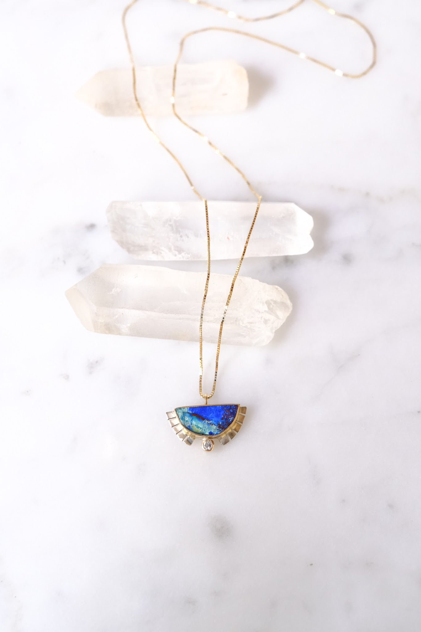 Young In the Mountains :: Half Sol Necklace, Azurite .03ct Diamond 14K,18""
