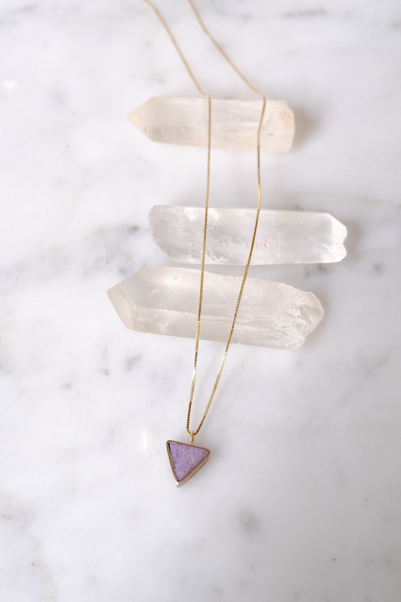 Young In the Mountains :: Forma Triangle Necklace, Jasper SS + 14K Chain