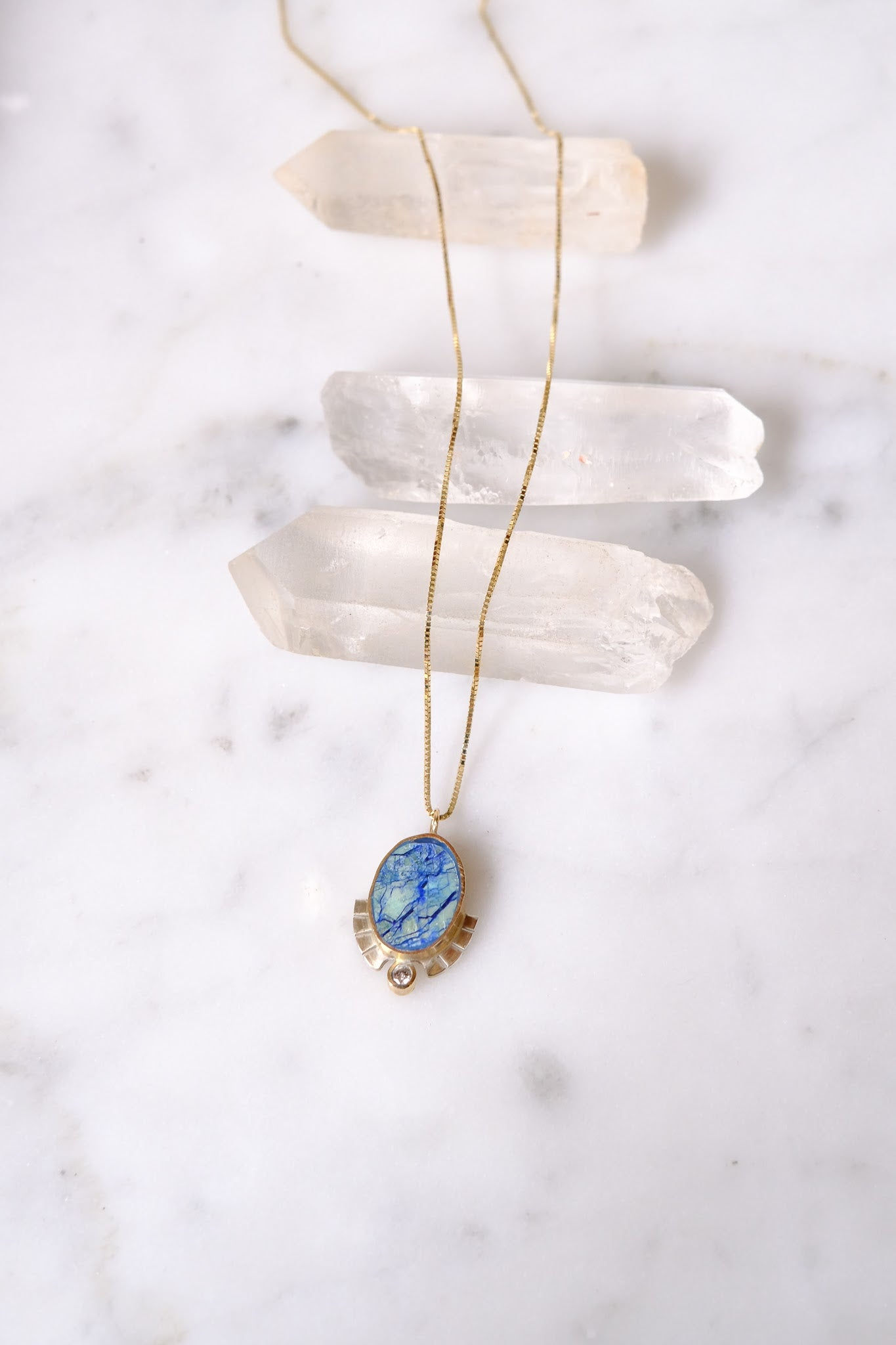 Young In the Mountains :: Bella Vita Necklace, Azurite .03ct Diamond 14K,18""