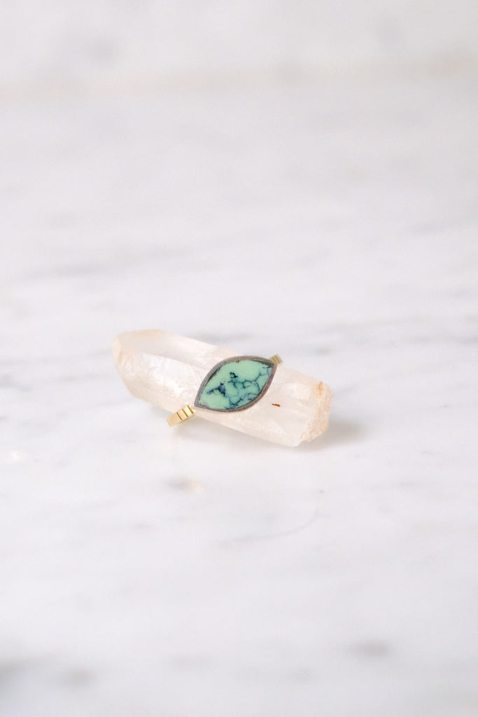 Young In the Mountains :: Forma Marquise Ring Turq. size 5 SS + 14K Band