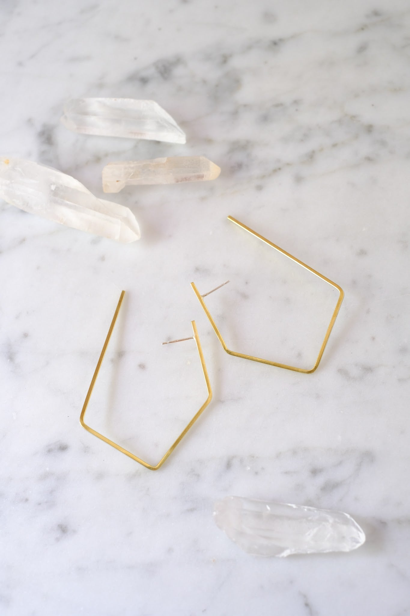 K/ller :: Earring Oblong Brass Hoops Medium