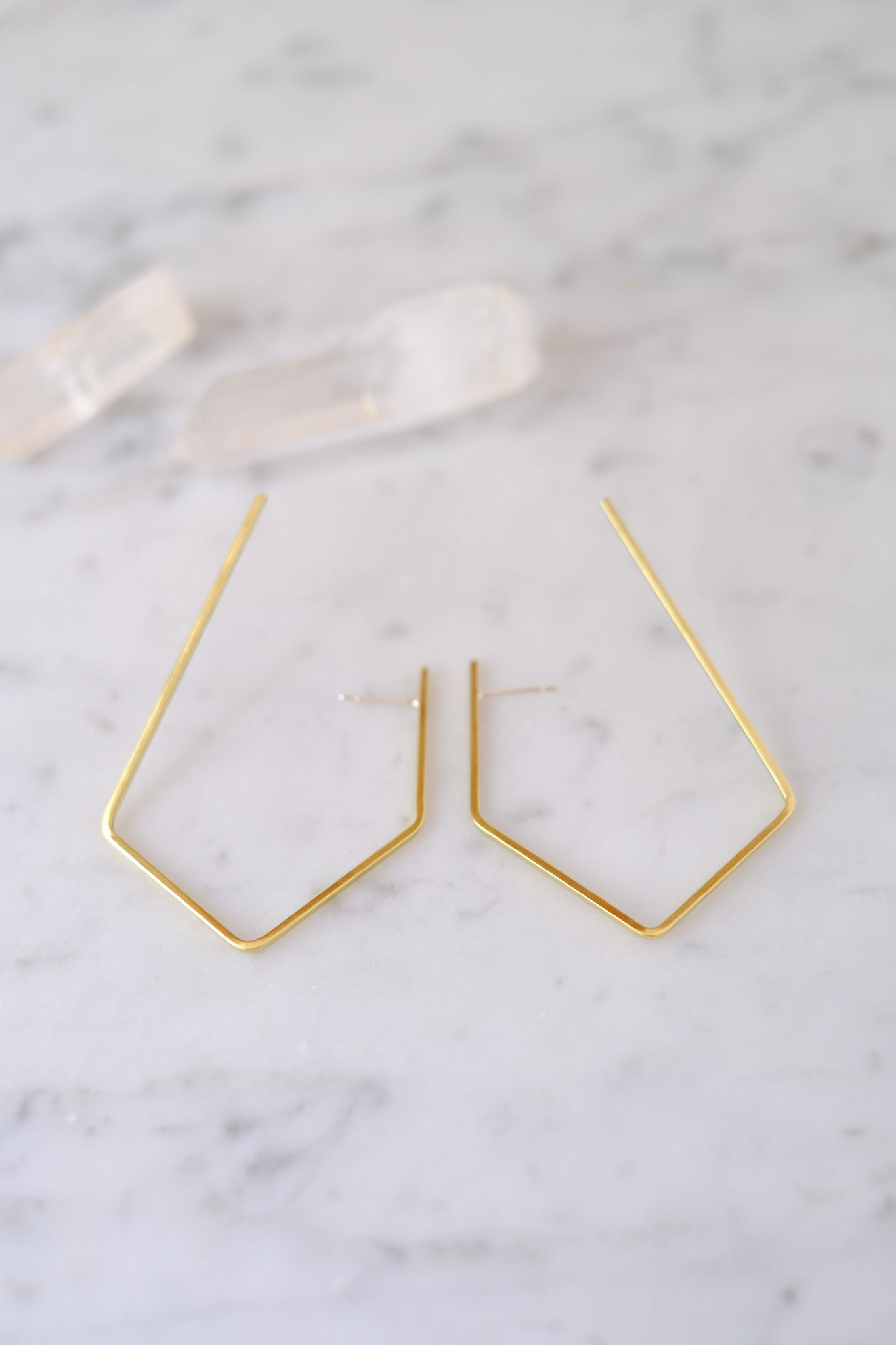 K/ller :: Earrings, Oblong Brass Hoops Medium