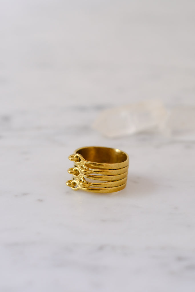 K/ller :: Ring Stacked Hinged Ring Brass Size 7