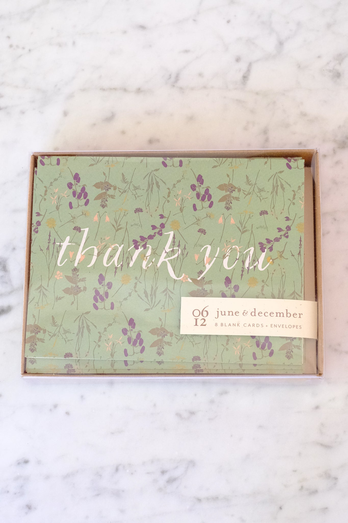June & December :: Box Cards, Wild Thank you, Set of 8