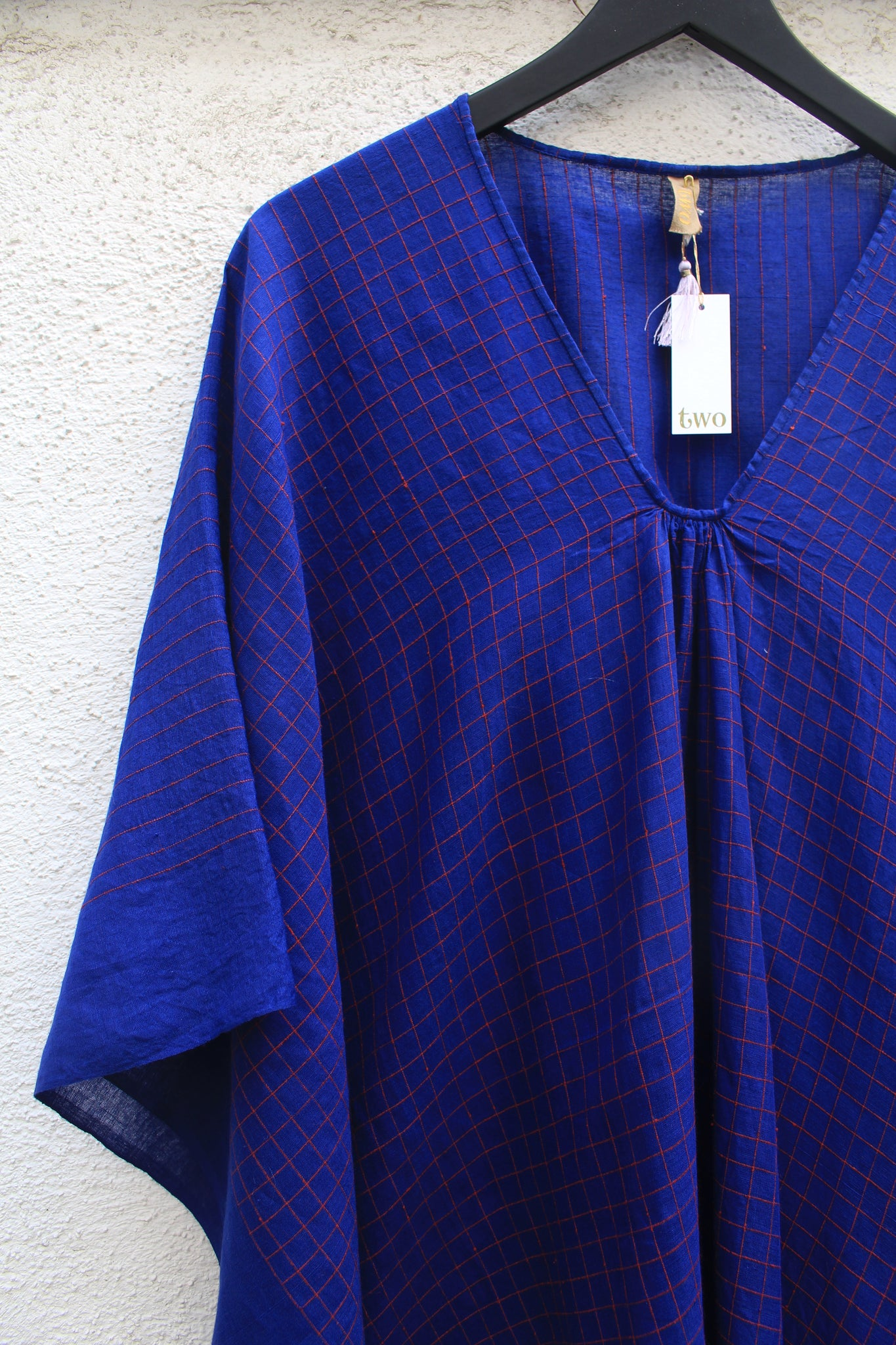 Two :: Short Sketch Caftan, Blue/Red