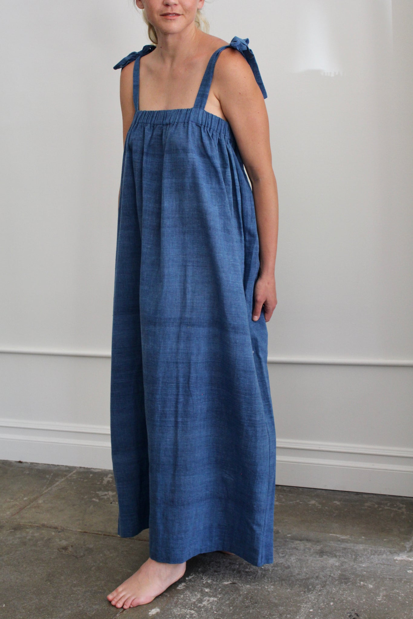 Two :: Long Shoulder Tie Dress, Indigo