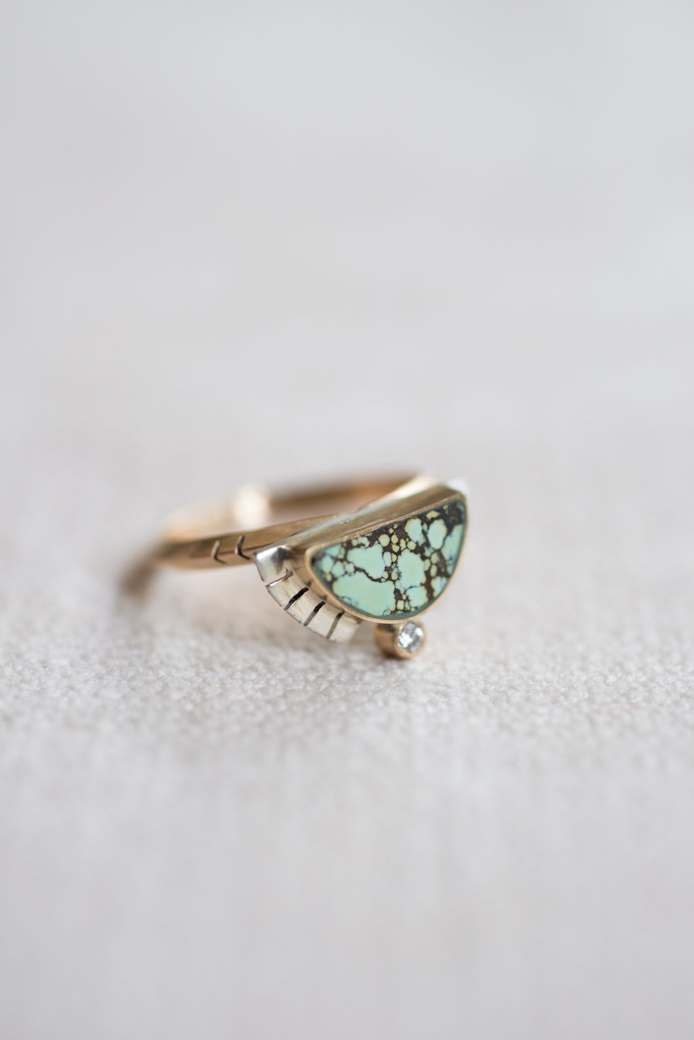 Young In the Mountains :: Half Sol Ring SS/14K Diamonds Peacock Turq. Size 7