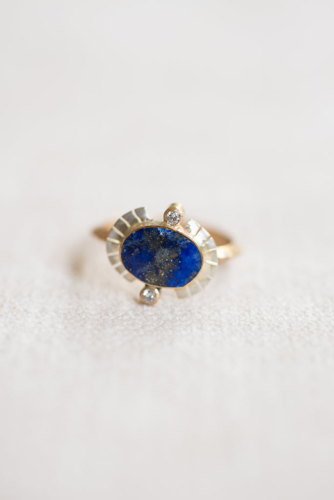 Young In the Mountains :: Sol Ring Lapis SS/14K Diamonds size 7