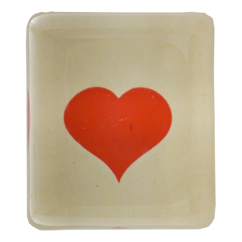 John Derian :: Rectangle Charm Paperweight, Blood Red Heart